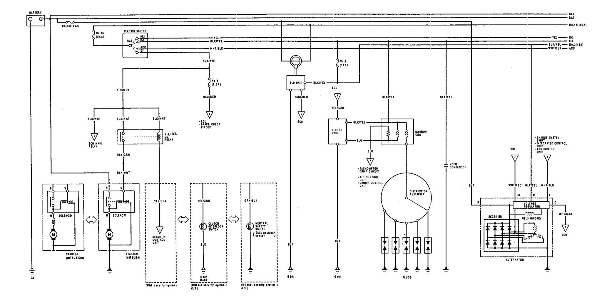 acura vigor  1992  - wiring diagrams - starting