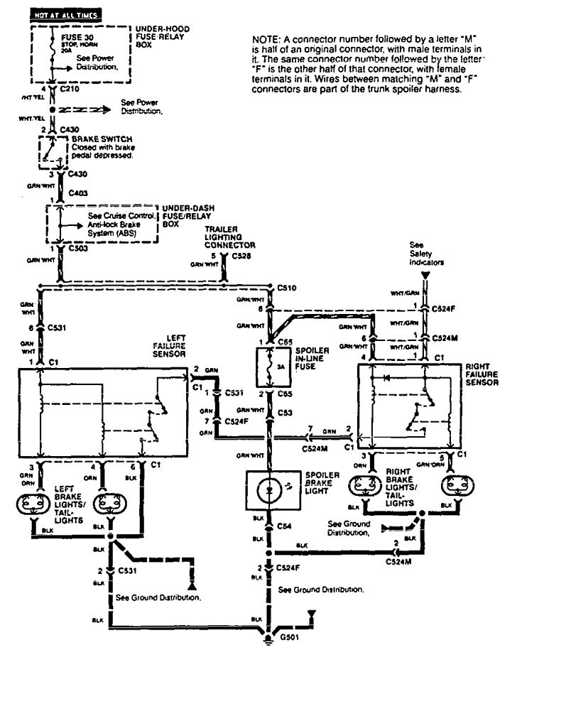 Acura Vigor – wiring diagram – stop lamp