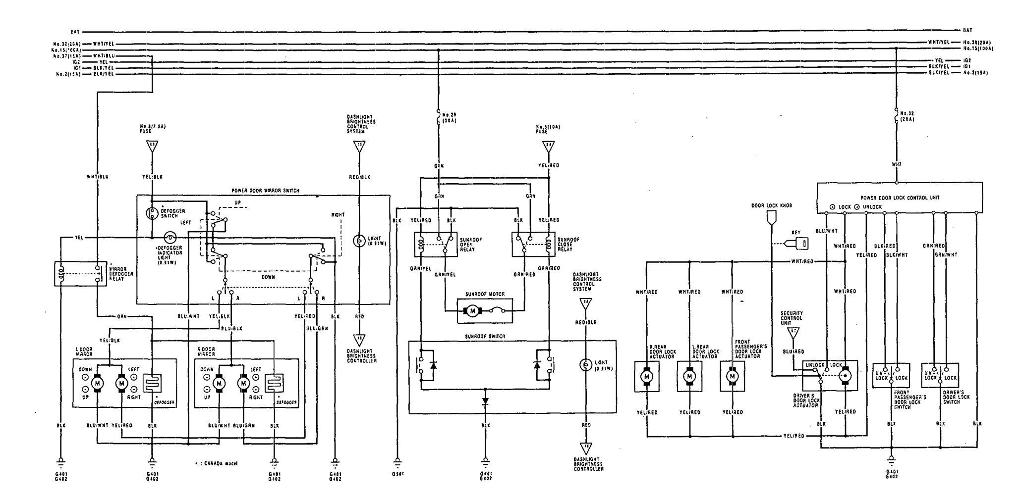 acura vigor 1992 1993 wiring diagrams sun roof. Black Bedroom Furniture Sets. Home Design Ideas