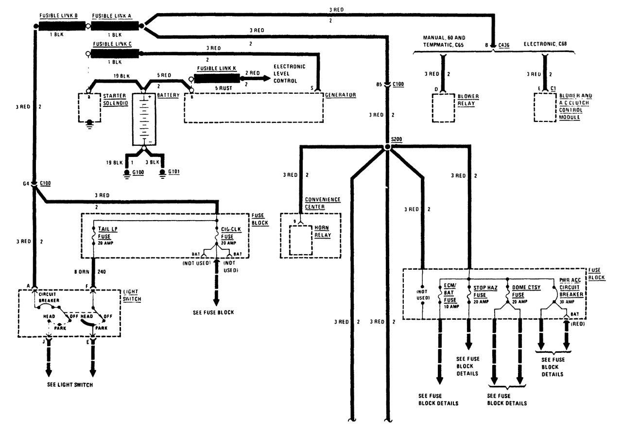Buick Century  1988  - Wiring Diagrams - Power Distribution