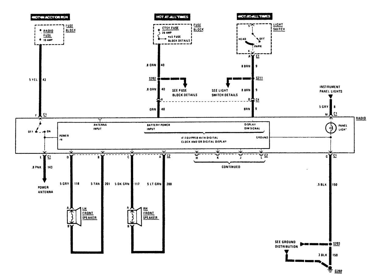 Buick Century  1988  - Wiring Diagrams - Audio