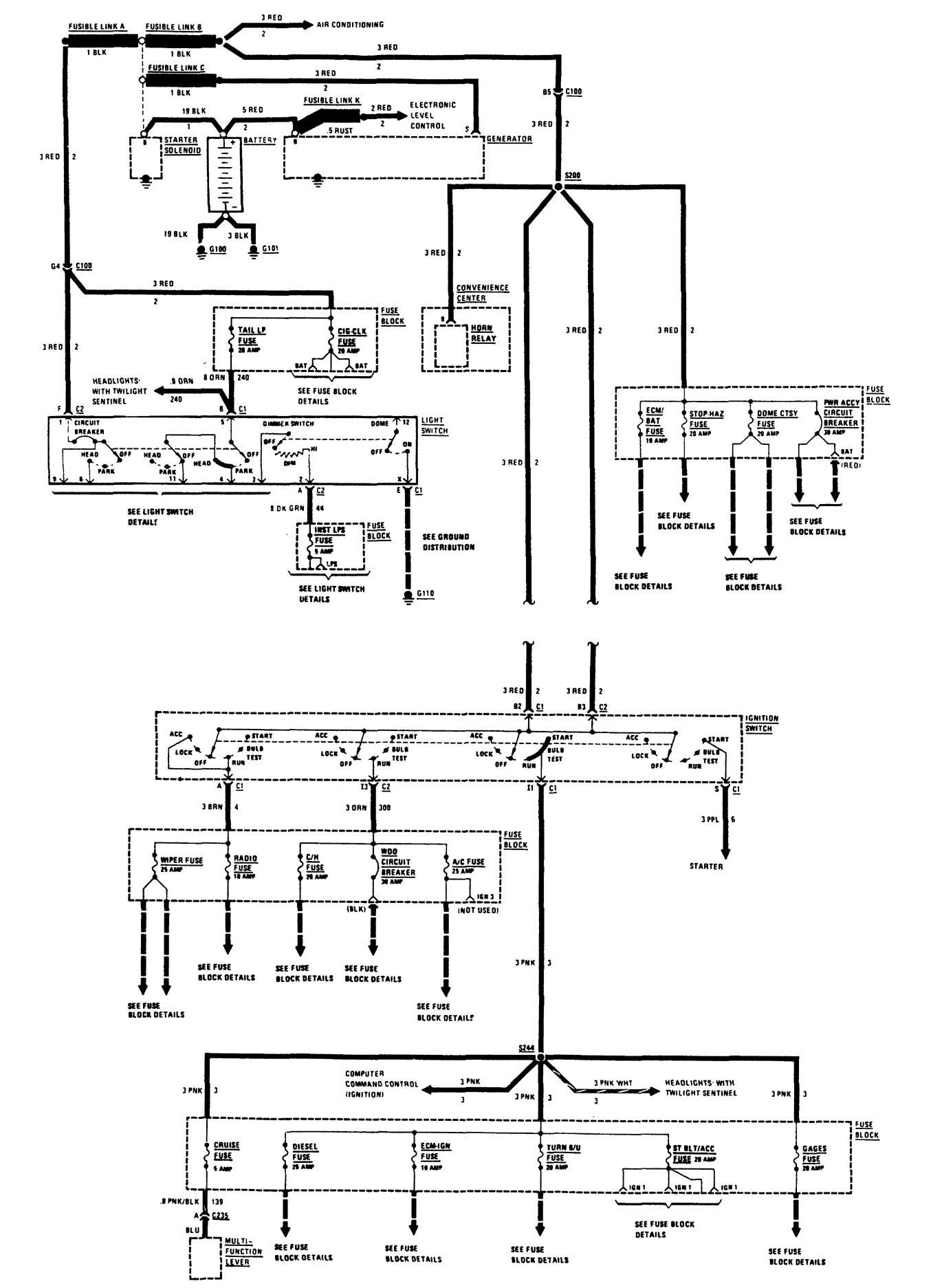 Buick Century  1988  - Wiring Diagrams - Power Distribution