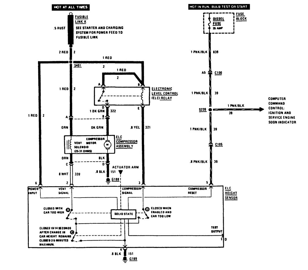 Buick Century  1988  - Wiring Diagrams - Suspension Controls