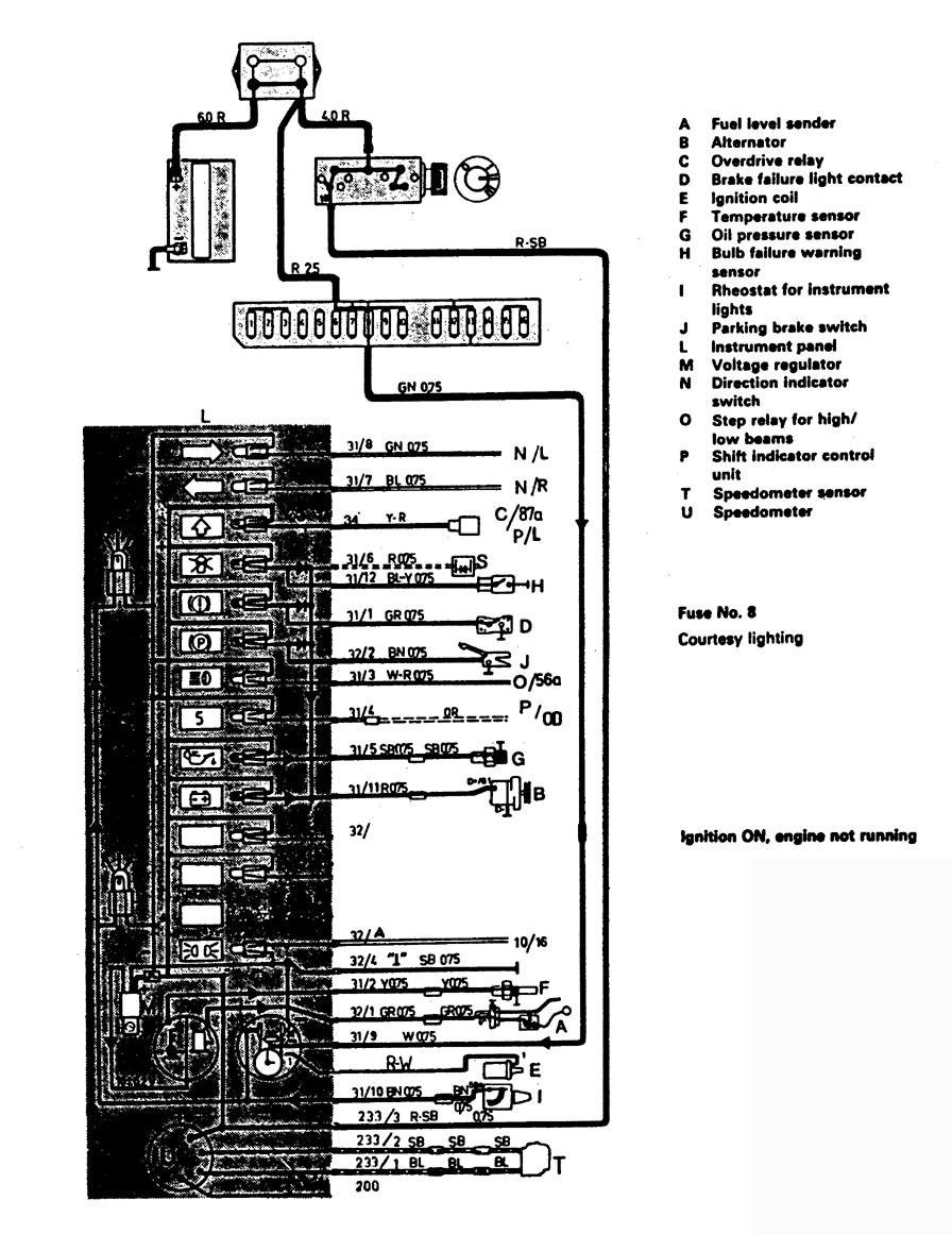 volvo 244  1988  - wiring diagrams - instrumentation
