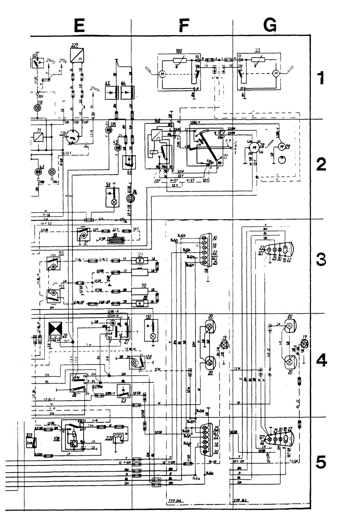 ... Volvo 244 – wiring diagram instrumentation (part 2) ...
