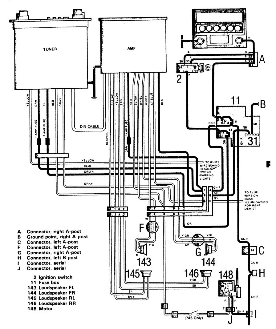 volvo 740  1986 - 1987  - wiring diagrams - audio