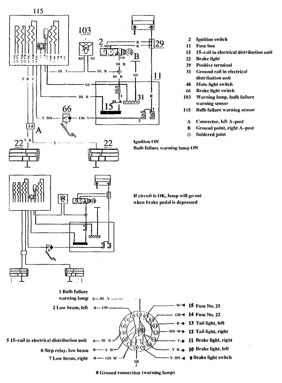 Volvo 740 1990 Wiring Diagrams Brake Warning System Carknowledge Tail Light Diagram