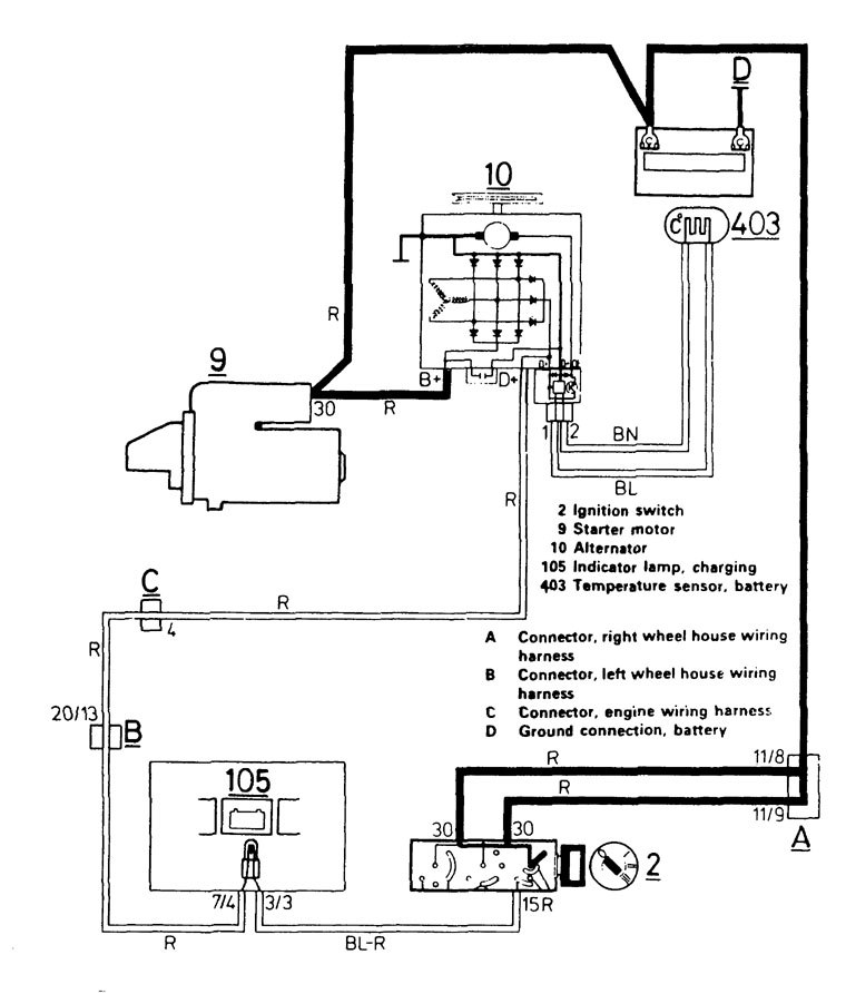 Volvo 740 (1986 - 1987) - wiring diagrams - charging system -  Carknowledge.infoCarknowledge.info