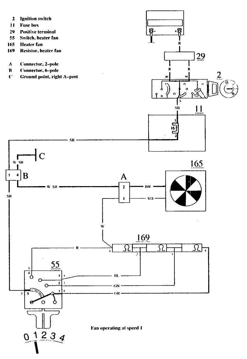 Volvo 740  1990  - Wiring Diagrams - Heater