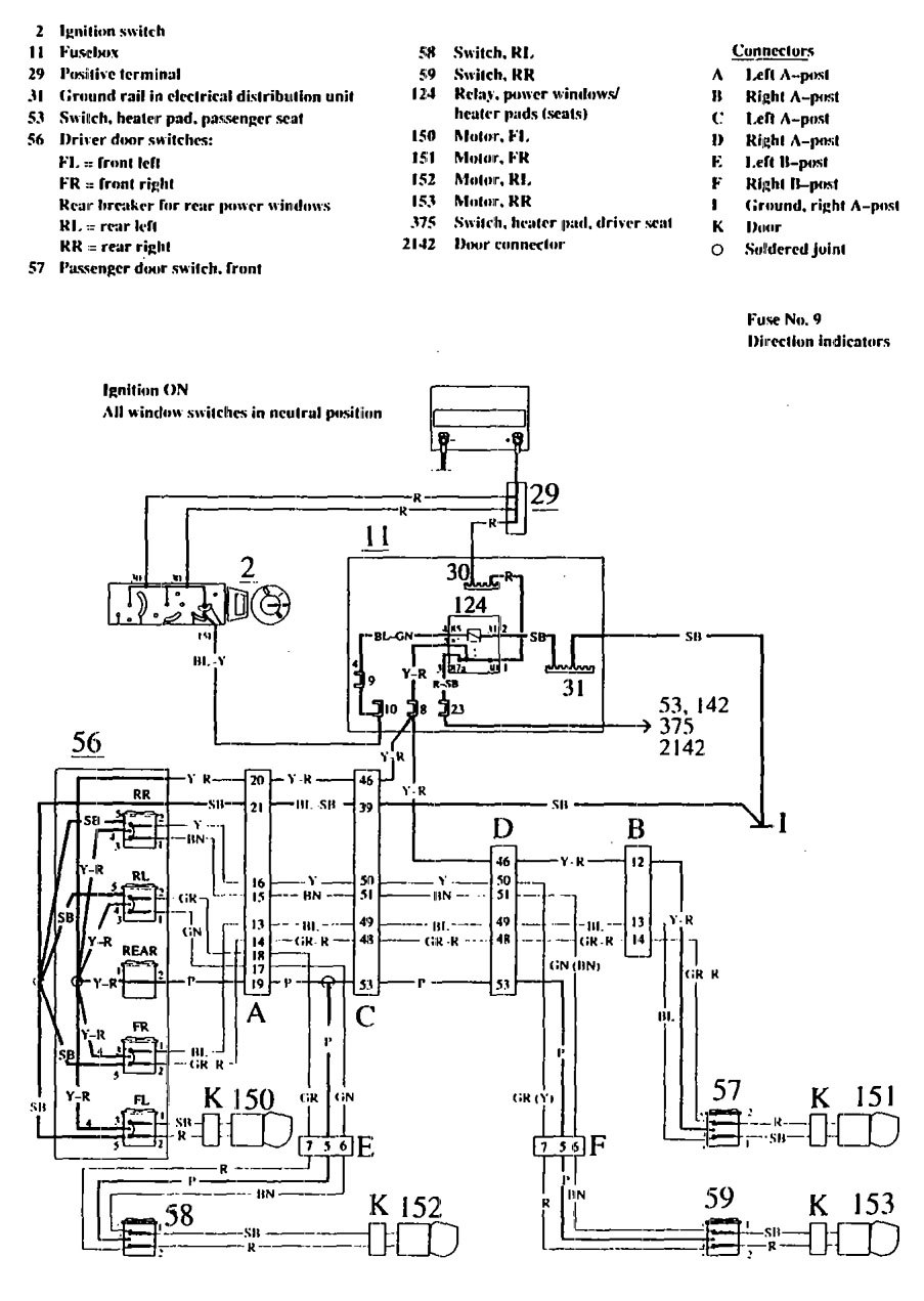Volvo 740 1990 1991 wiring diagrams power windows