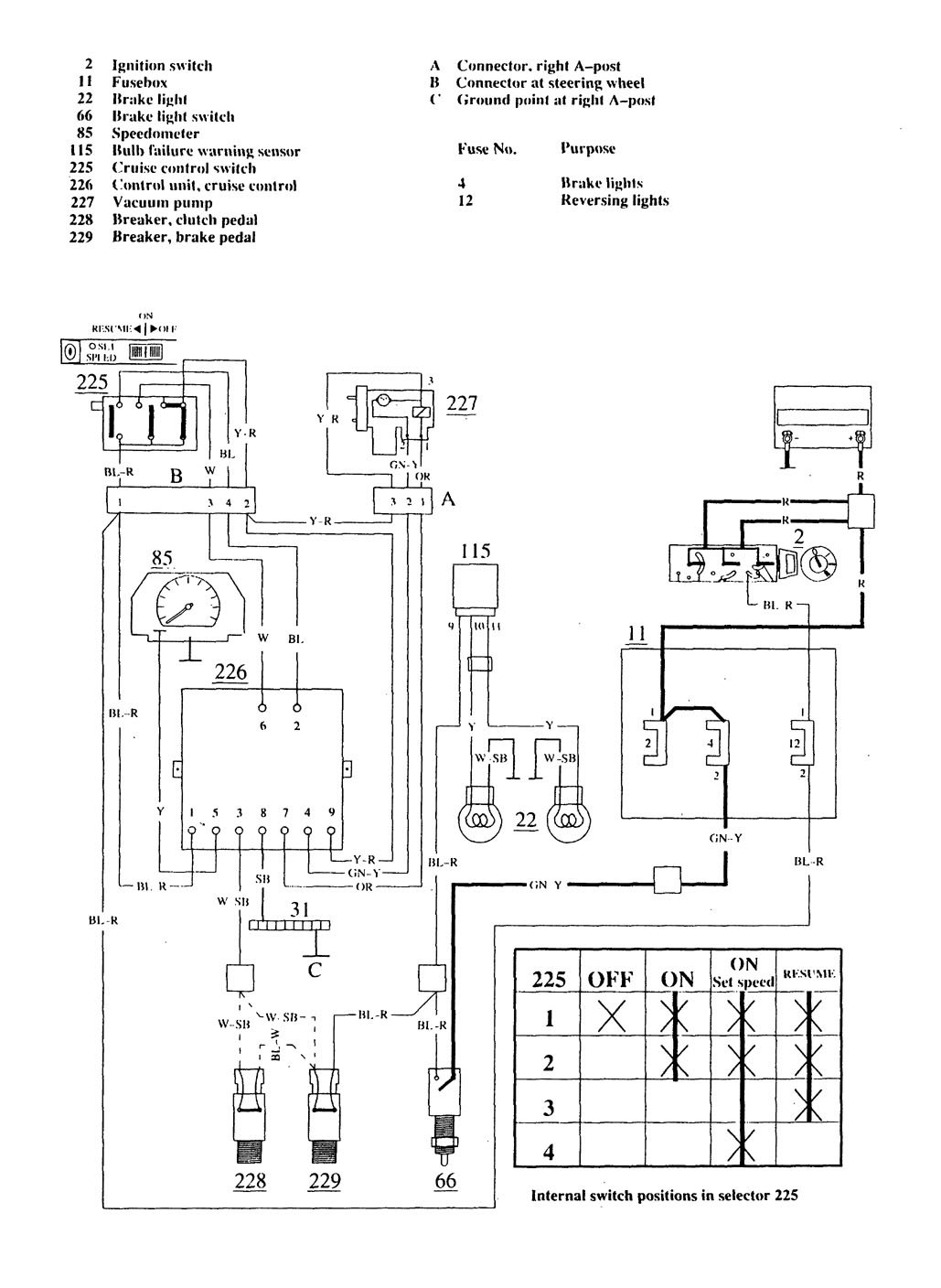 Volvo 740 (1989 - 1990) - wiring diagrams - speed controls ...