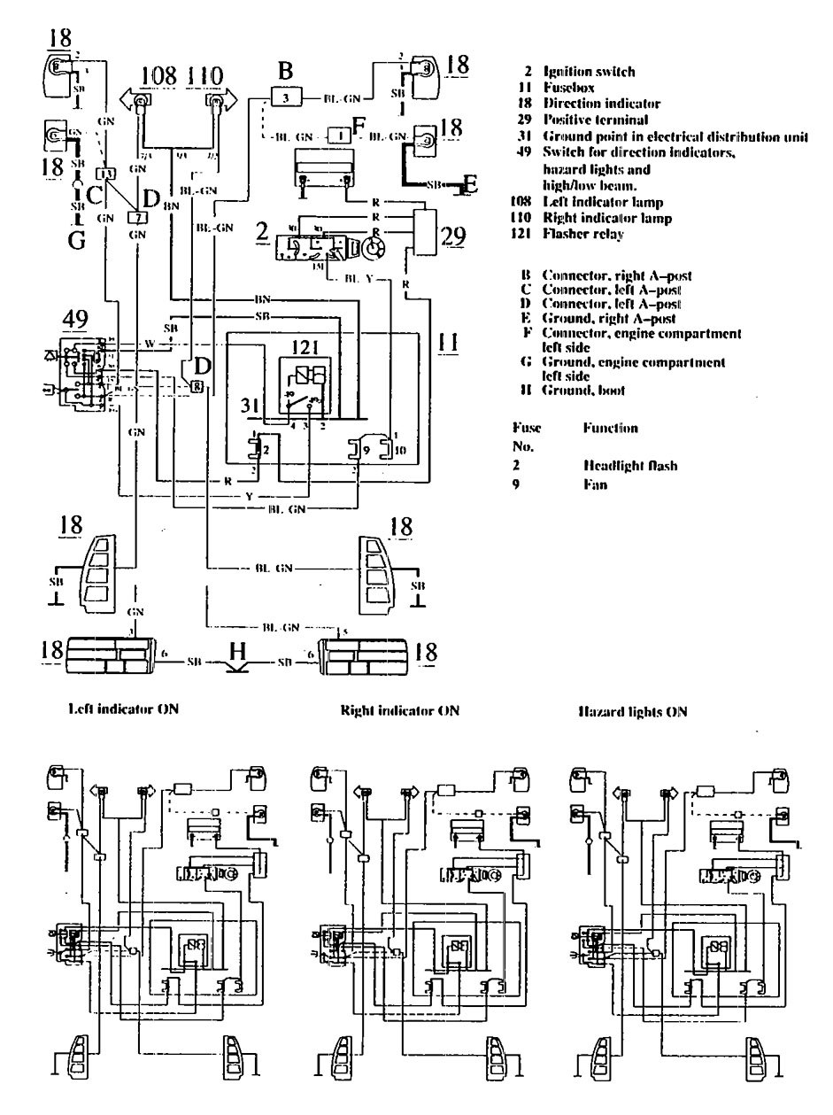 Volvo 740 (1990) - wiring diagrams - turn signal lamp ... on turn signal headlight, turn signal fuse, turn signal solenoid, turn signal system, turn signal wire, turn signal cable, ford turn signal switch diagram, turn signal lights, turn signal plug, gm turn signal switch diagram, turn signal regulator, turn signal flasher, turn signal socket diagram, 2004 acura tl fuse box diagram, turn signal sensor, turn signal repair, turn signal relay, turn signal troubleshooting, circuit diagram, universal turn signal switch diagram,