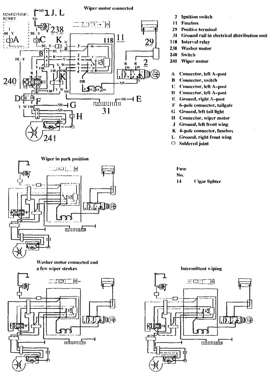 Volvo 740  1990 - 1991  - Wiring Diagrams - Wiper  Washer
