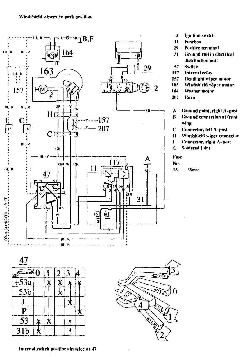 volvo 740  1990 - 1991  - wiring diagrams  washer