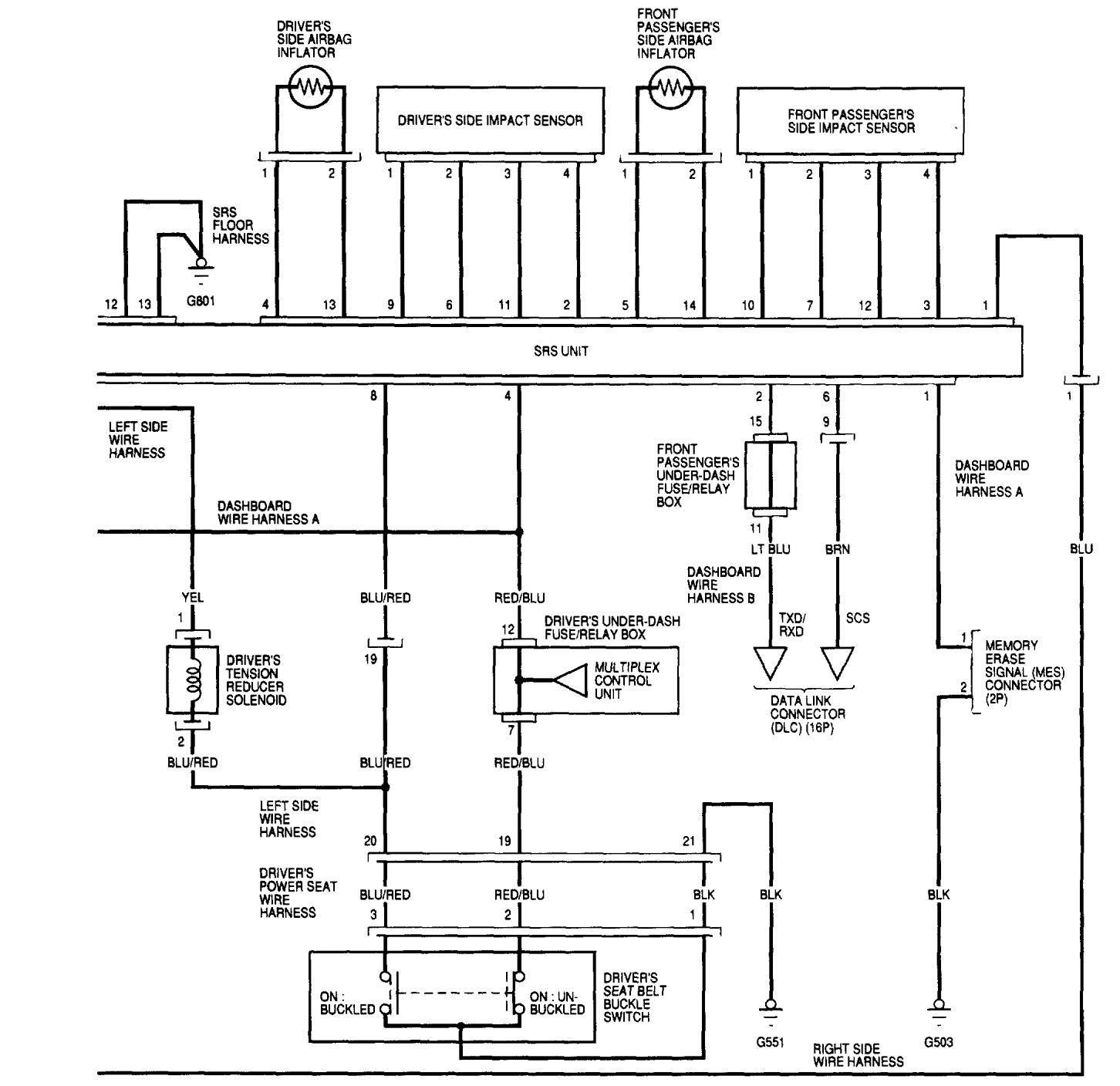 acura tl  2002  - wiring diagrams - air bags