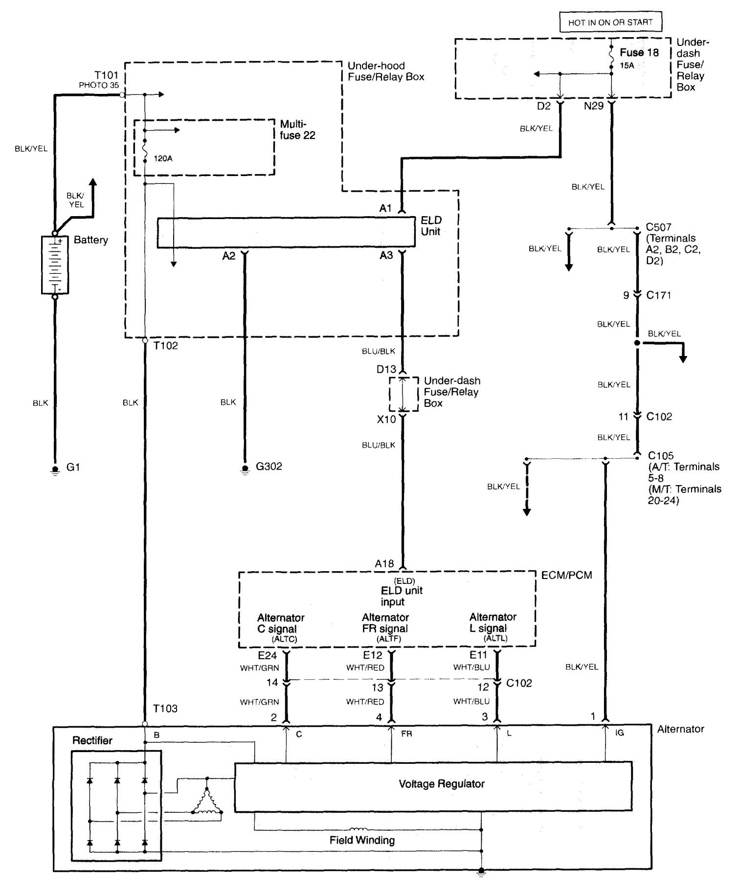 Acura TL (2006) - wiring diagrams - charging system - Carknowledge.info | Acura Tl 2006 Wiring Diagram |  | Carknowledge.info