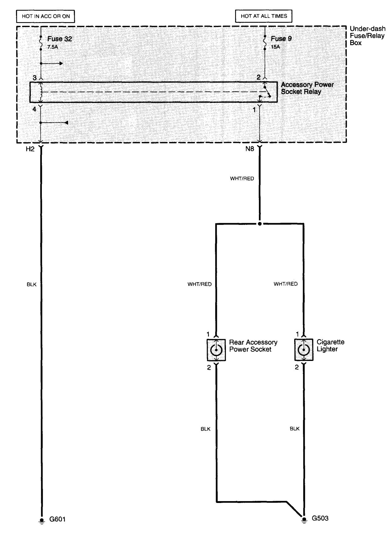 Acura Tl  2003 - 2008  - Wiring Diagrams - Cigar Lighter