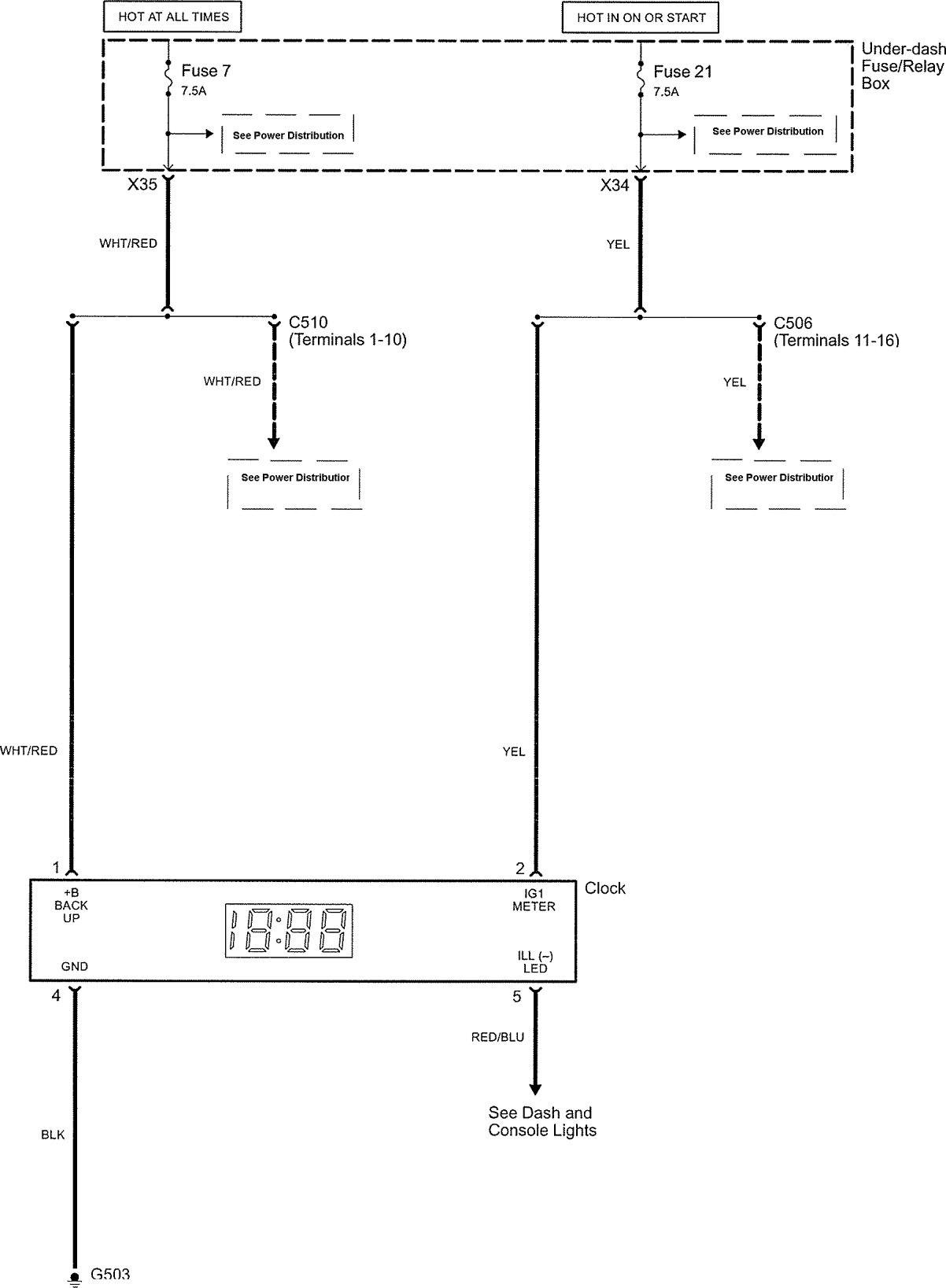 Acura Tl  2006  - Wiring Diagrams - Clock