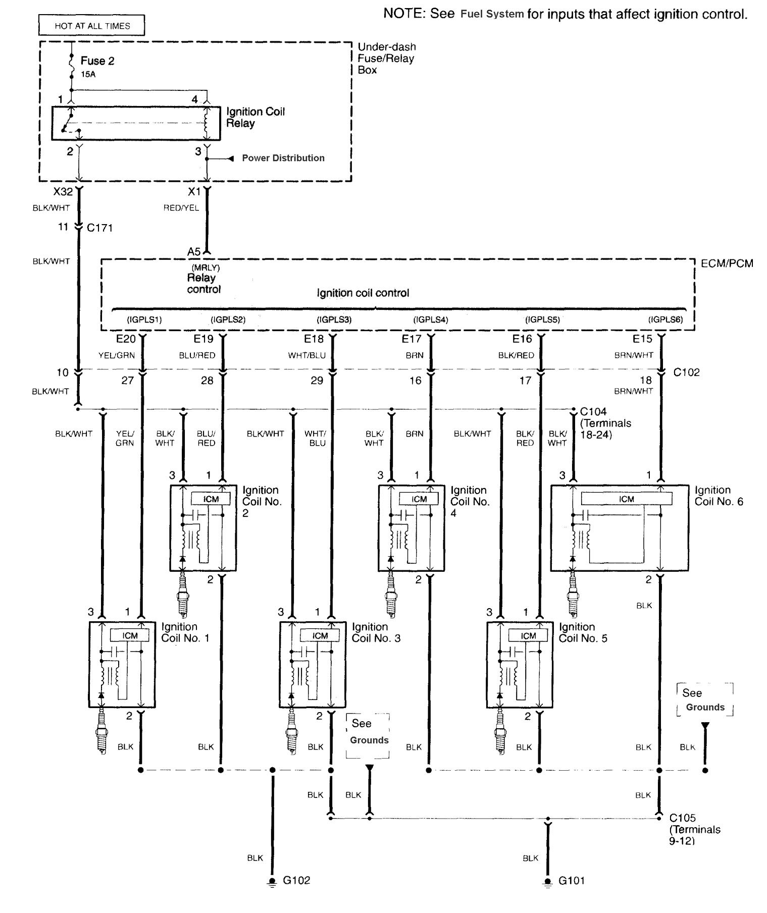 Acura Tl  2003 - 2004  - Wiring Diagrams - Ignition