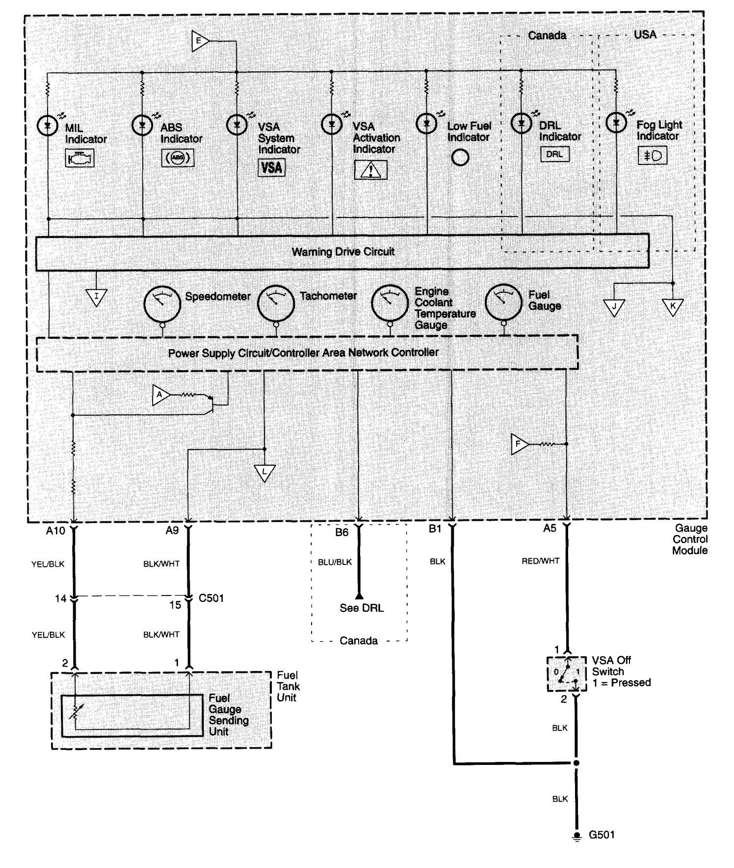 Acura TL 2003 2005 wiring diagrams instrumentation