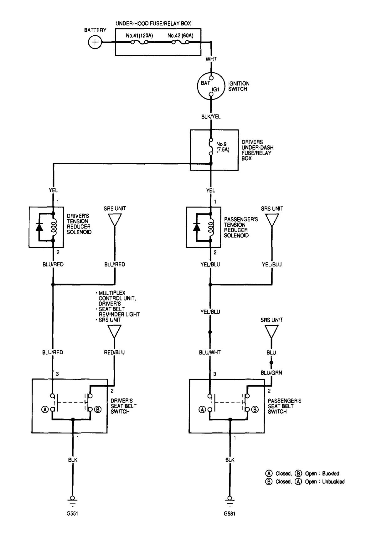 Acura Tl  2002  - Wiring Diagrams - Seat Belts