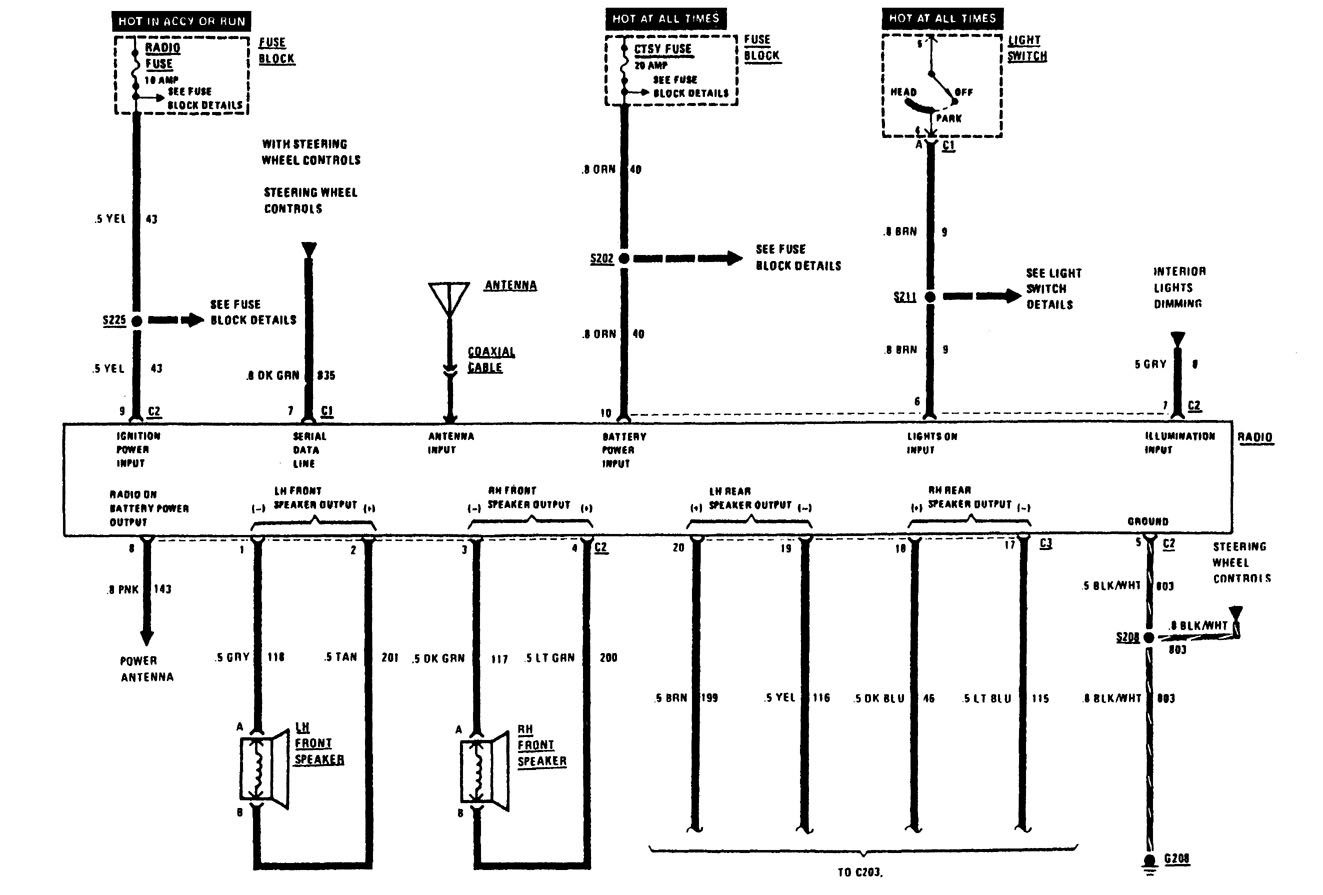 buick century  1991  - wiring diagrams - audio