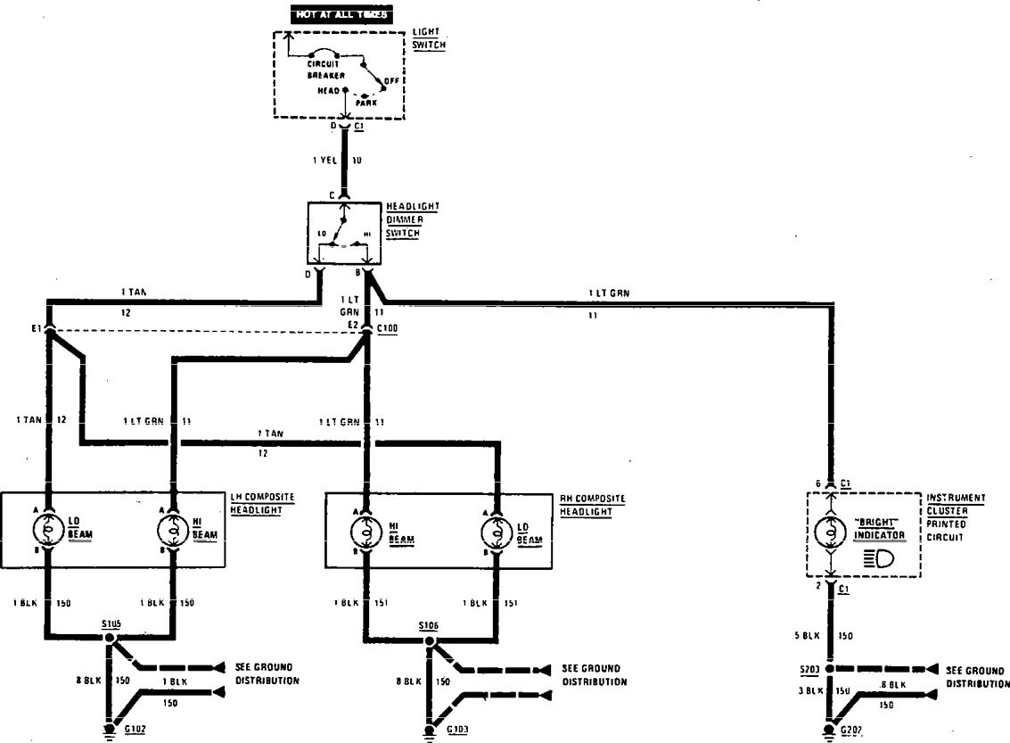 Buick Century  1990 - 1991  - Wiring Diagrams - Headlamps