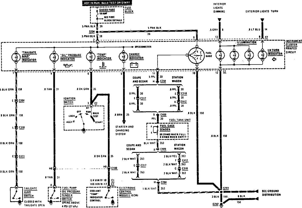 Buick Century (1990) - wiring diagrams - indicator lamp ...