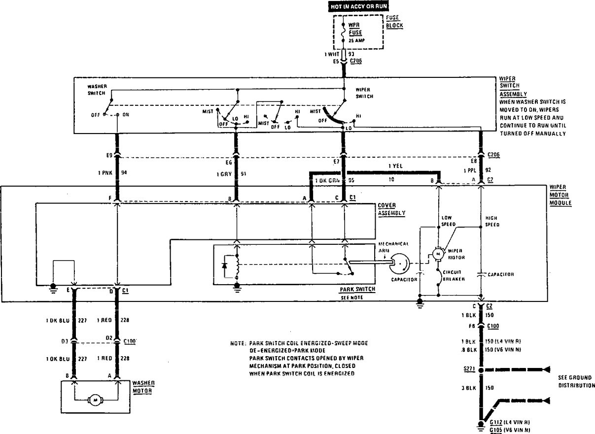 Buick Century (1991) - wiring diagrams - wiper/washer ...