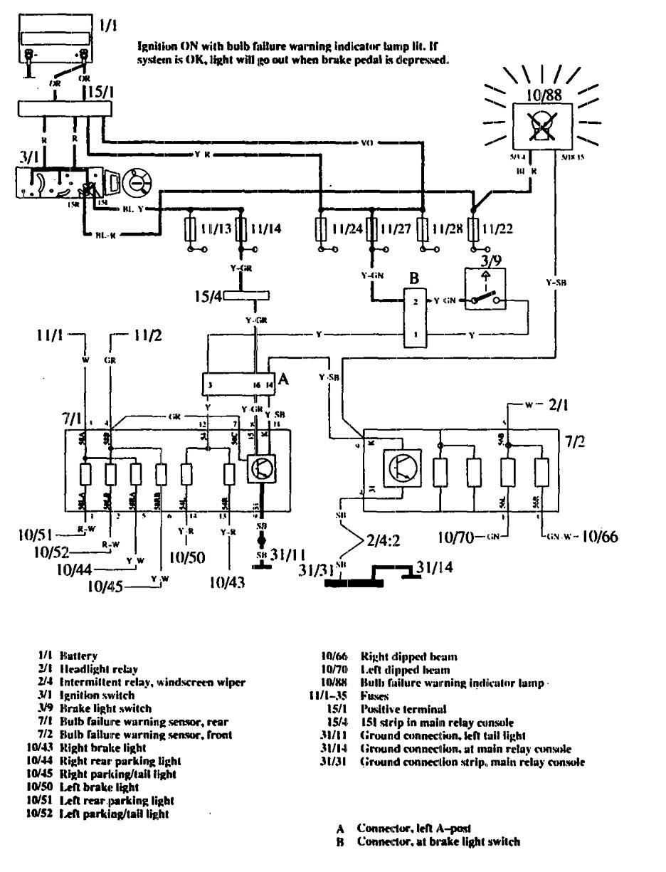 Volvo 760 (1990) - wiring diagrams - ke warning system ... on gmc tail light wiring diagram, chevrolet tail light wiring diagram, toyota tail light wiring diagram, jeep tail light wiring diagram, dodge tail light wiring diagram, vw tail light wiring diagram, ford f 150 tail light wiring diagram,