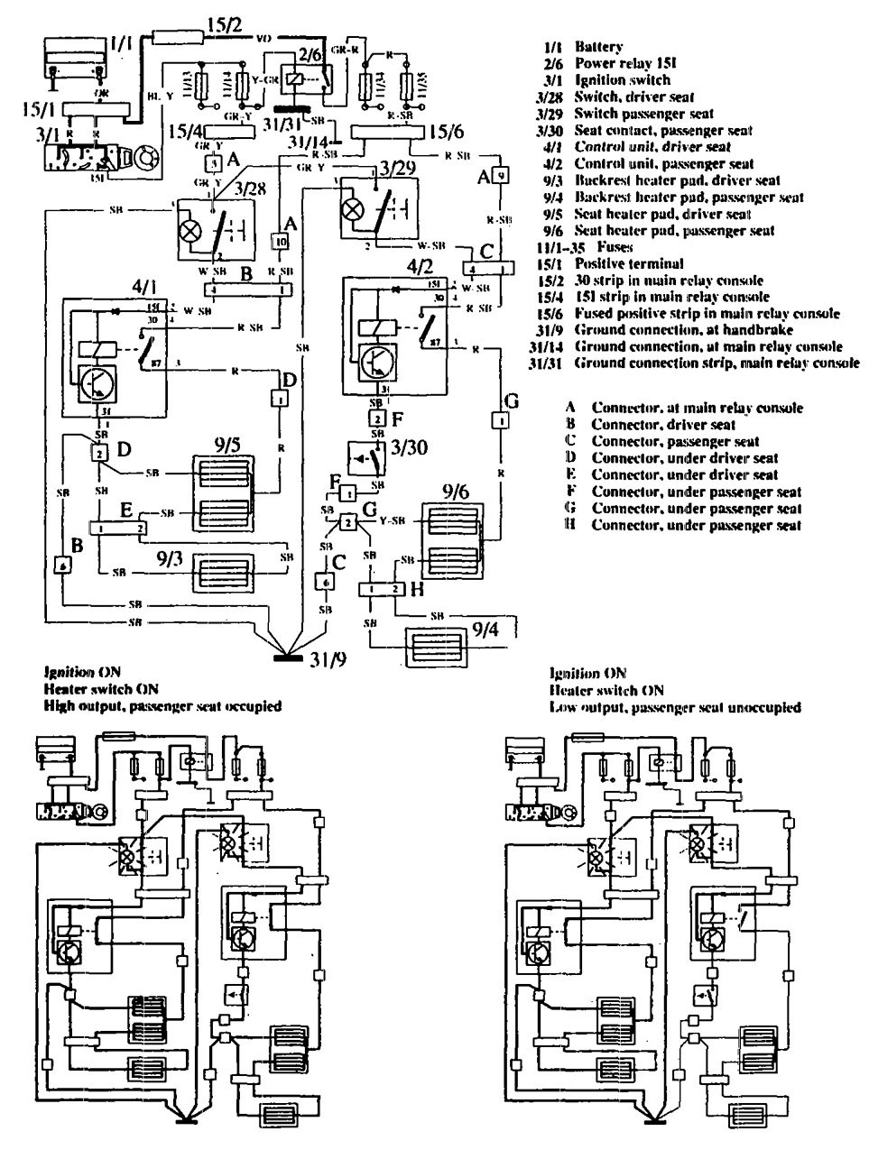 Volvo 760 (1990) - wiring diagrams - heated seats - Carknowledge.info | Volvo 760 Wiring Diagram |  | Carknowledge.info