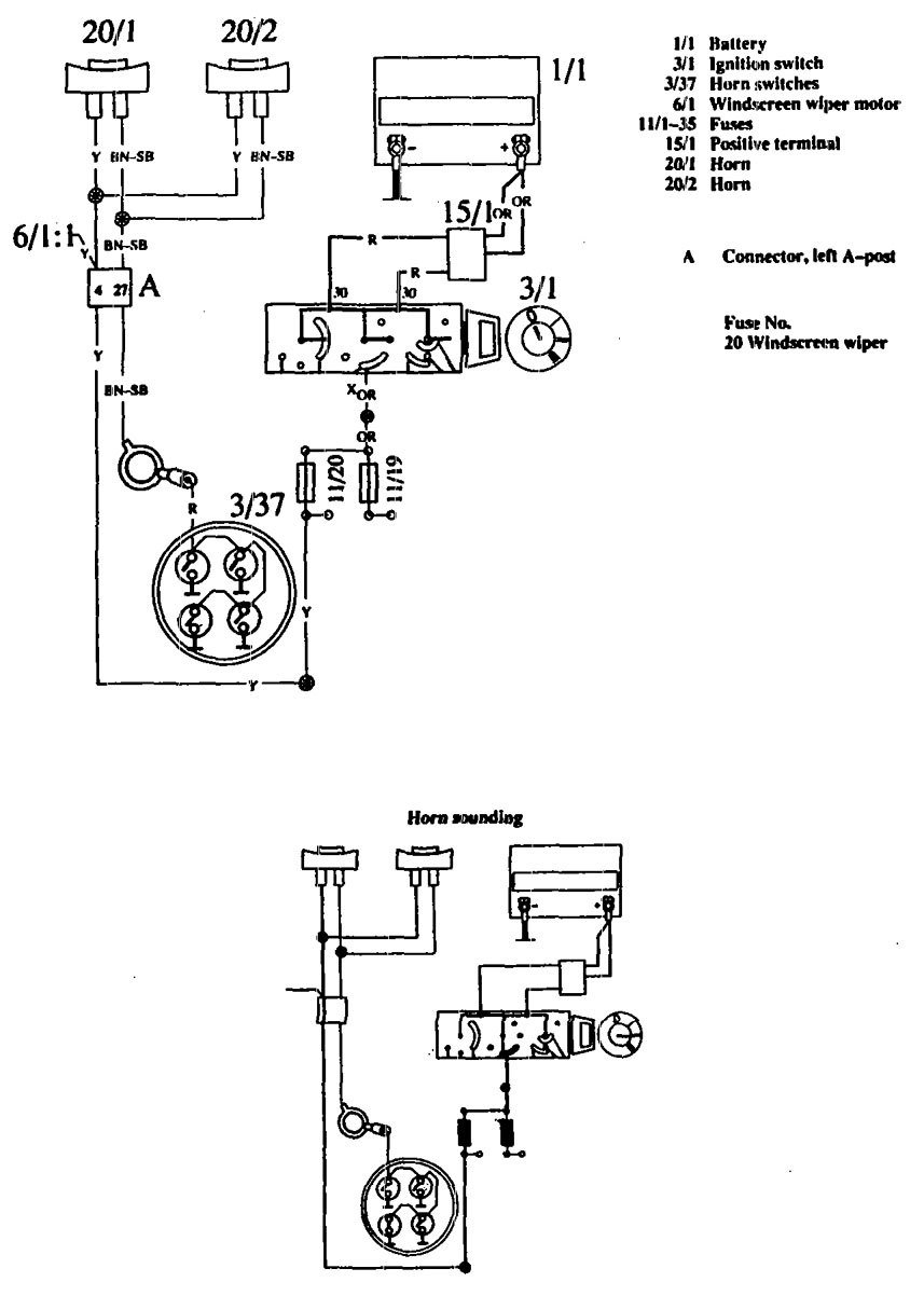 Volvo 760 (1990) – wiring diagrams – horn – CARKNOWLEDGE