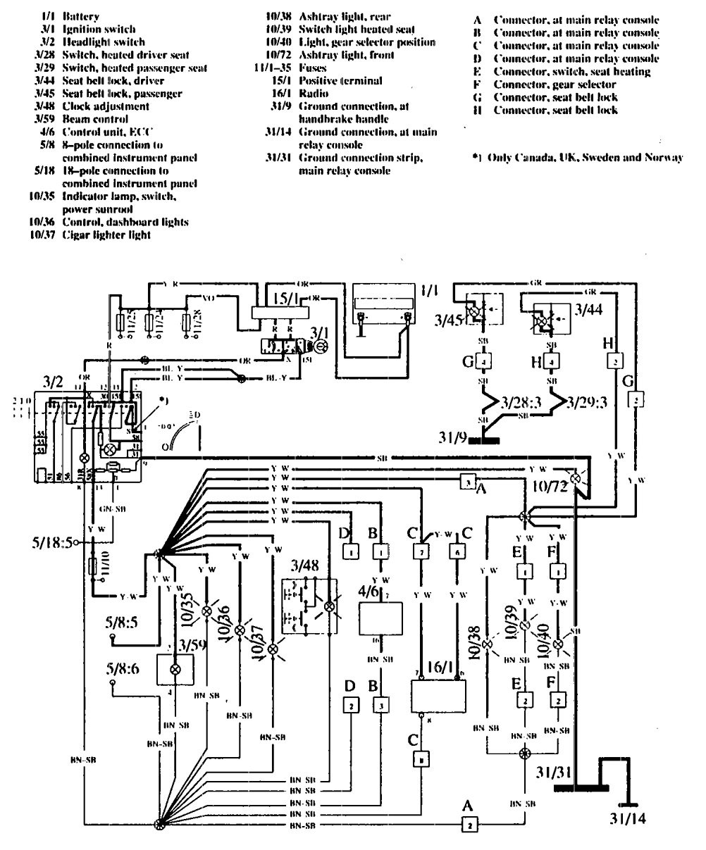 Volvo 760 1990 Wiring Diagrams Instrument Panel Lamps Lamp Rotary Switch Diagram
