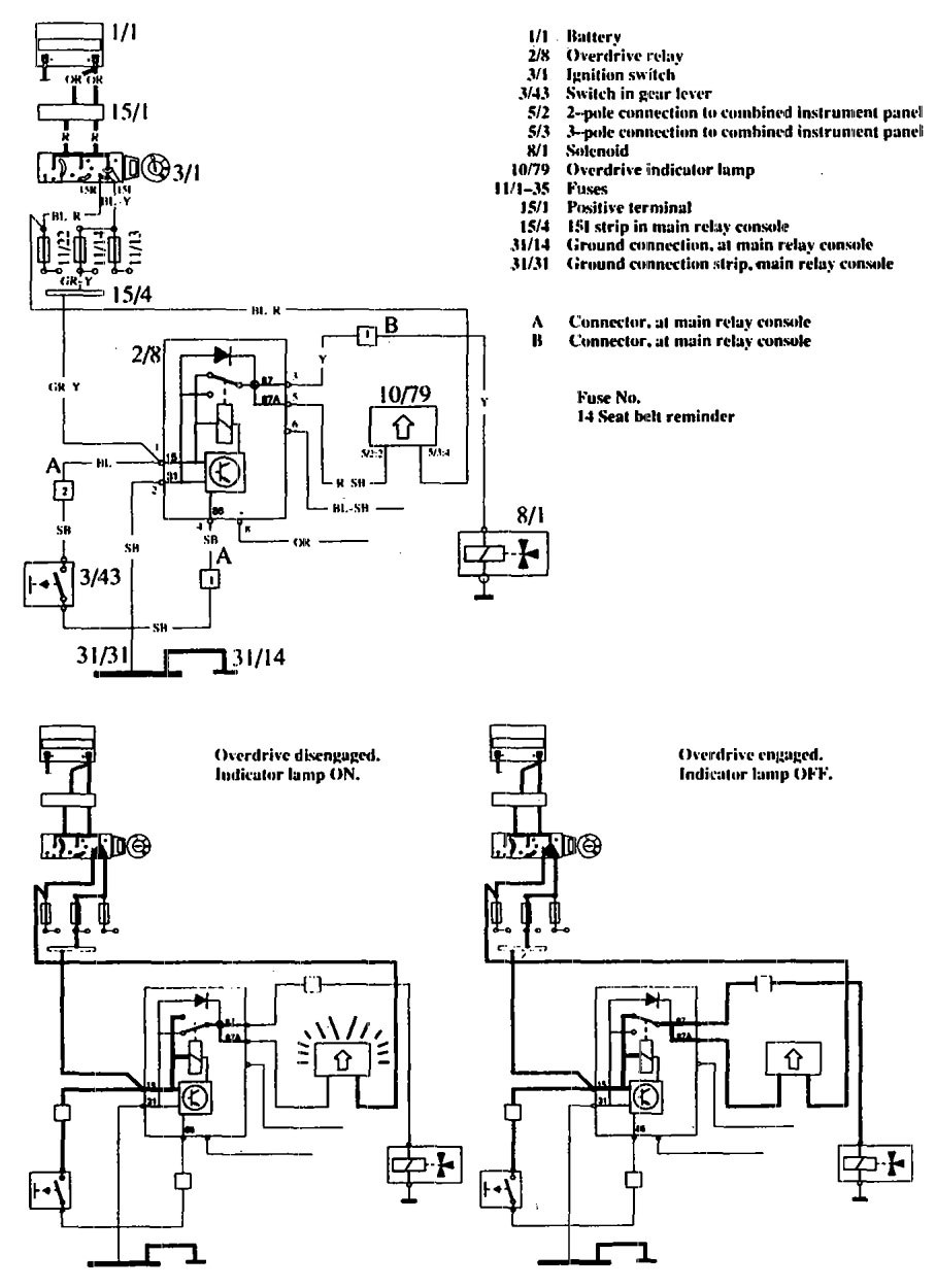 Volvo 760 (1990) - wiring diagrams - overdrive controls - Carknowledge.info | Volvo 760 Wiring Diagram |  | Carknowledge.info