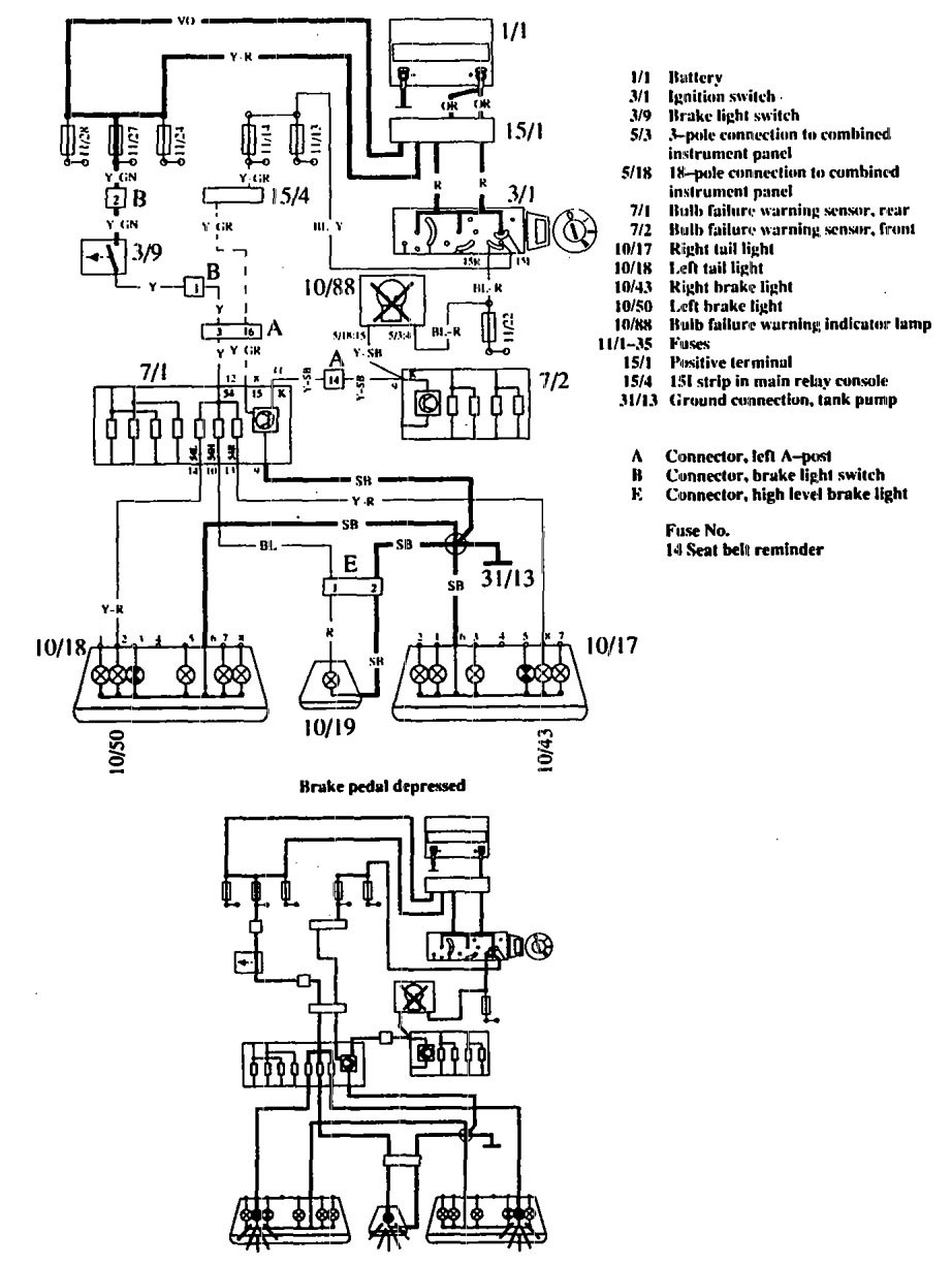 volvo 760  1990  - wiring diagrams - stop lamp