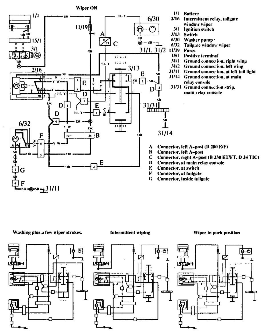 volvo 760  1990  - wiring diagrams  washer
