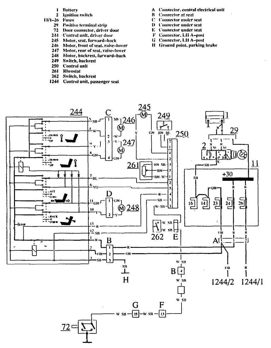 volvo 780  1990  - wiring diagrams - power seat