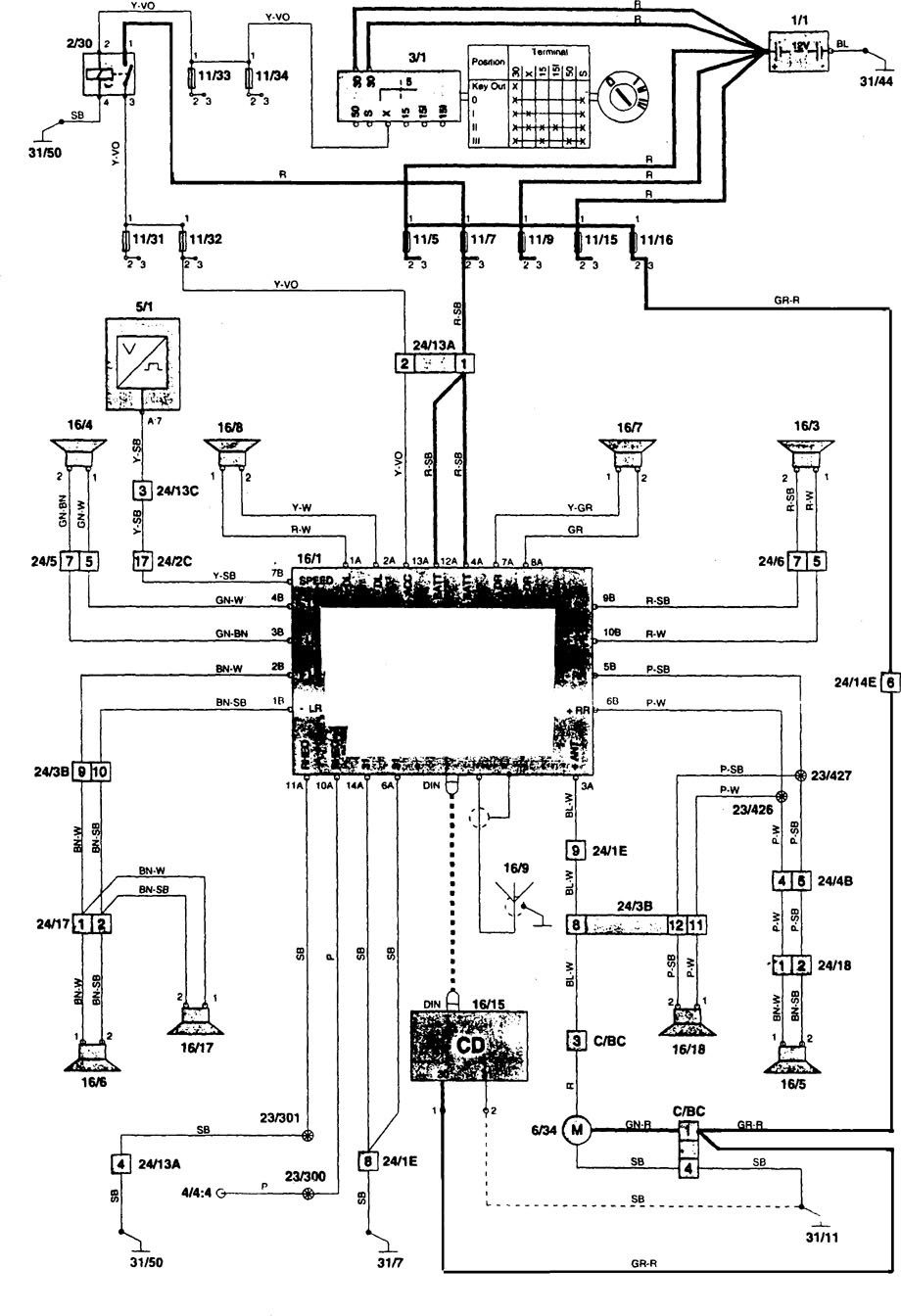 Volvo 850 (1996 - 1997) - wiring diagrams - audio - Carknowledge.info | 1997 Volvo 850 Wiring Diagram |  | Carknowledge.info