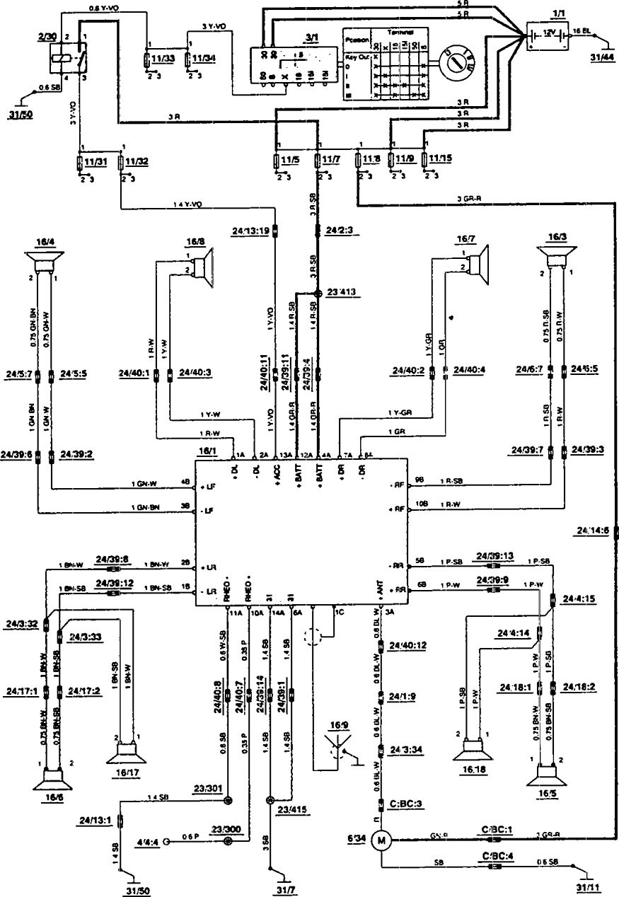 Volvo 850 1993 1994 Wiring Diagrams Audio