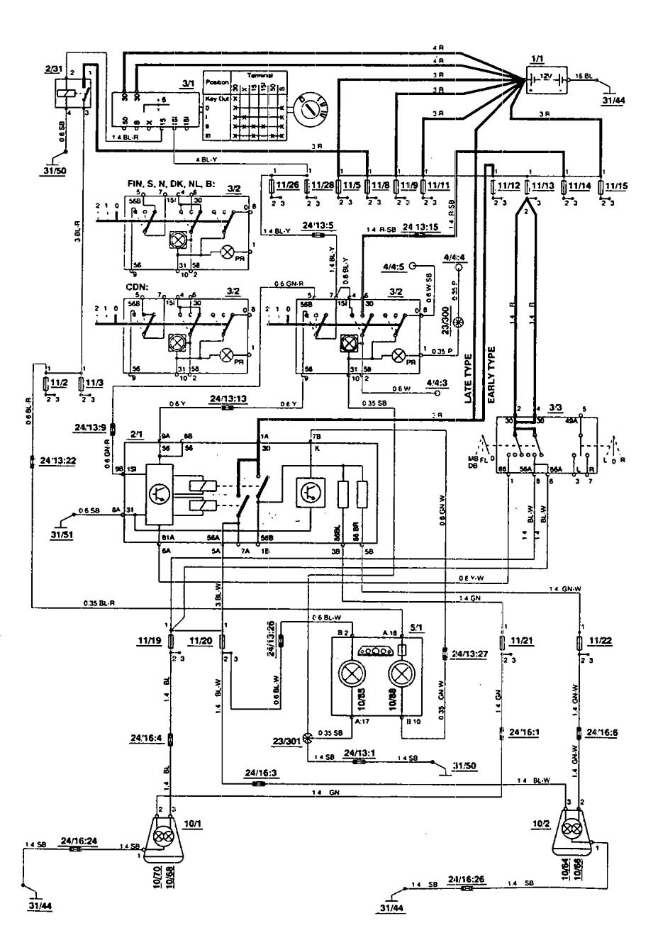 volvo 850  1994  - wiring diagrams - headlamps