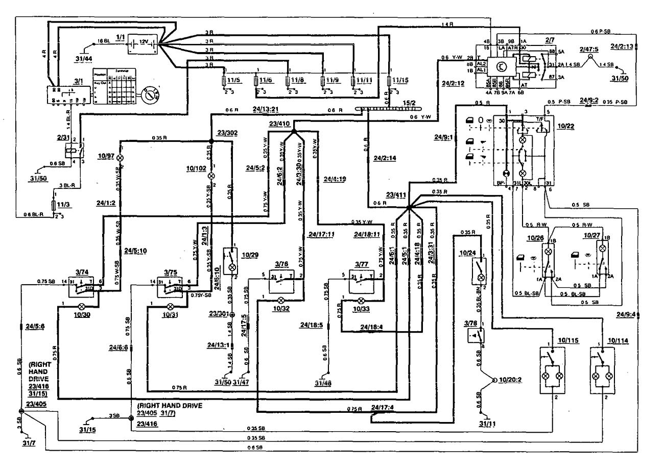 Volvo 850 1994 Wiring Diagrams Interior Lighting