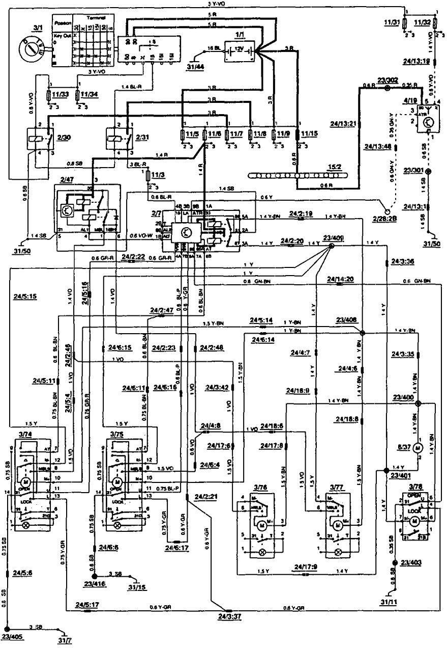 Volvo 850 1993 Wiring Diagrams Power Locks