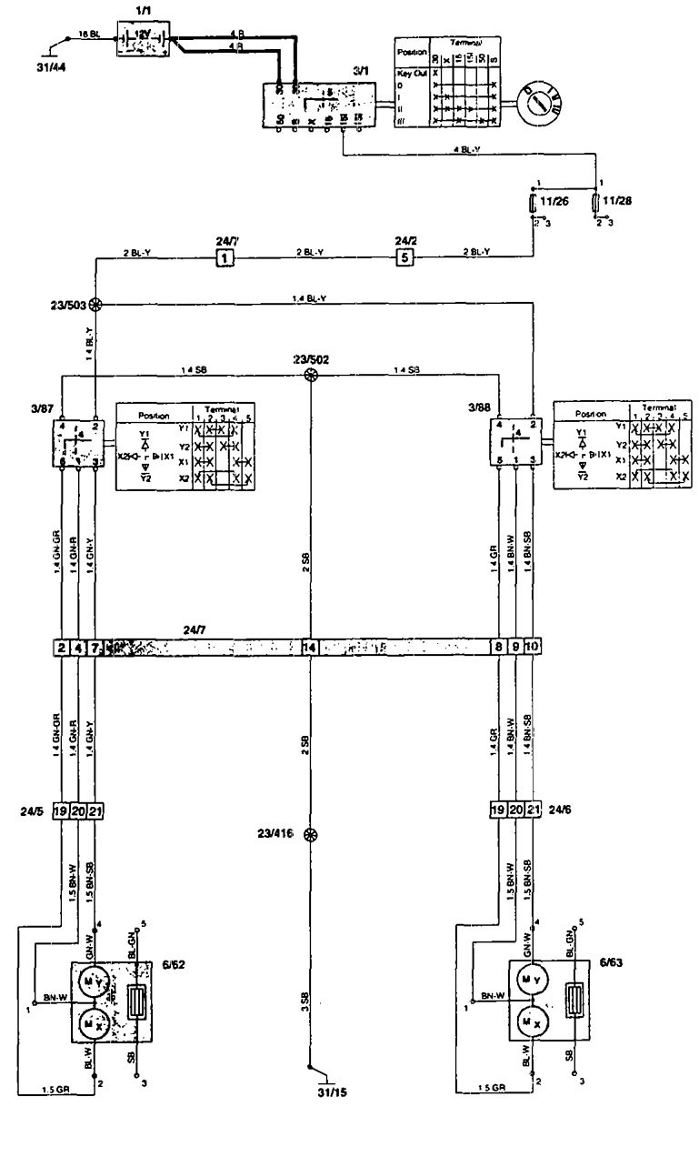 Volvo  wiring diagrams power mirrors