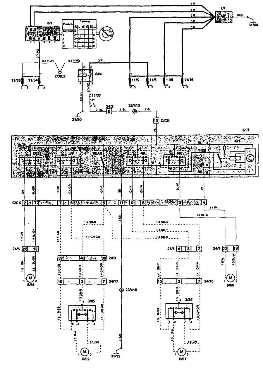 Volvo 850 (1995) Wiring Diagrams Power Windows Carknowledge Audio Wire  Diagram 1985 Volvo Volvo