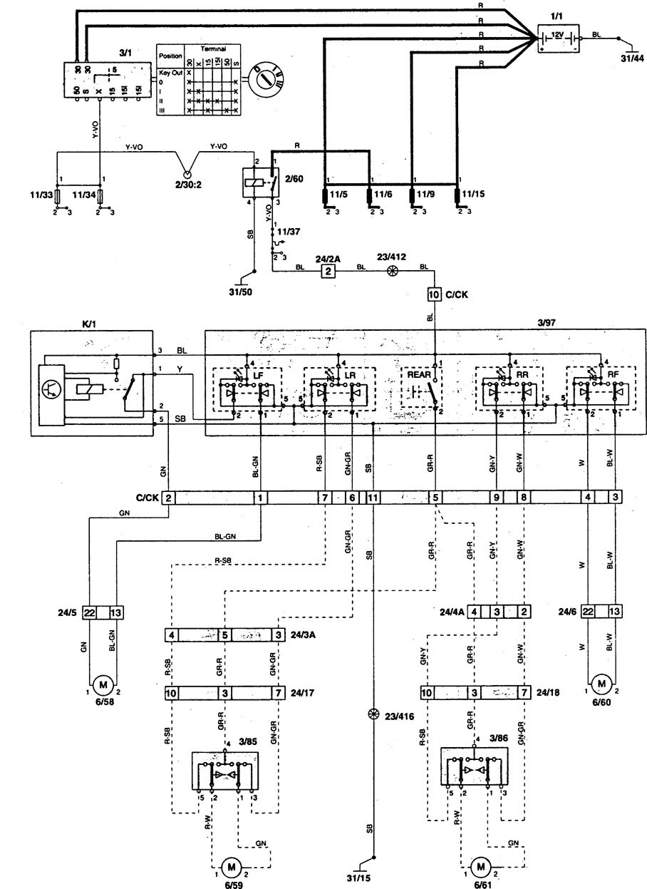 Volvo 850 (1996 - 1997) - wiring diagrams - power windows -  Carknowledge.info   Volvo 850 Power Window Wiring Diagram      Carknowledge.info