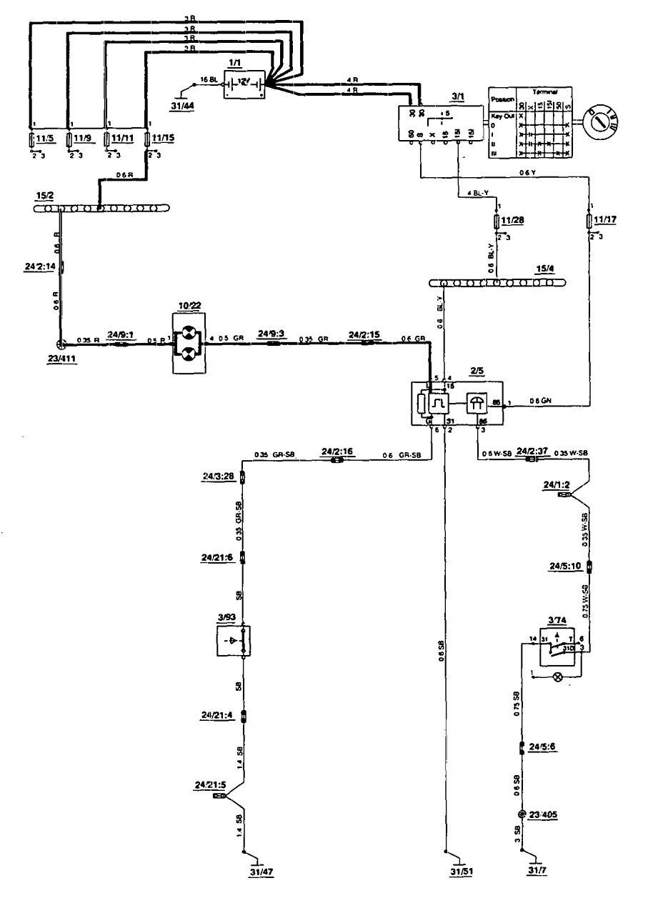 Volvo 850  1994  - Wiring Diagrams - Seat Belt Warning