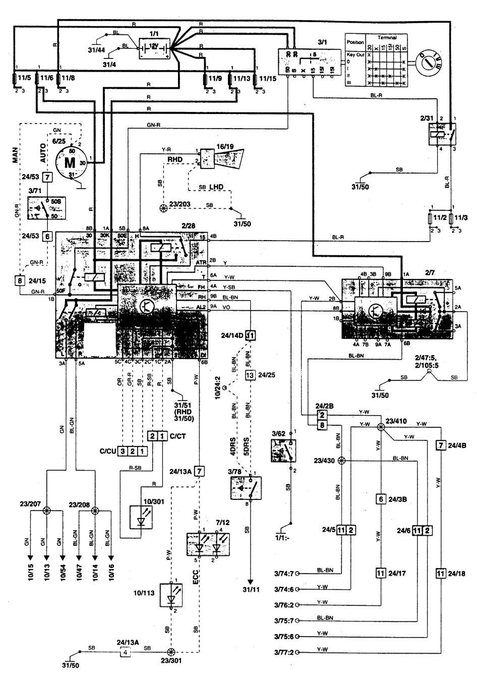 volvo 850  1996  - wiring diagrams  anti