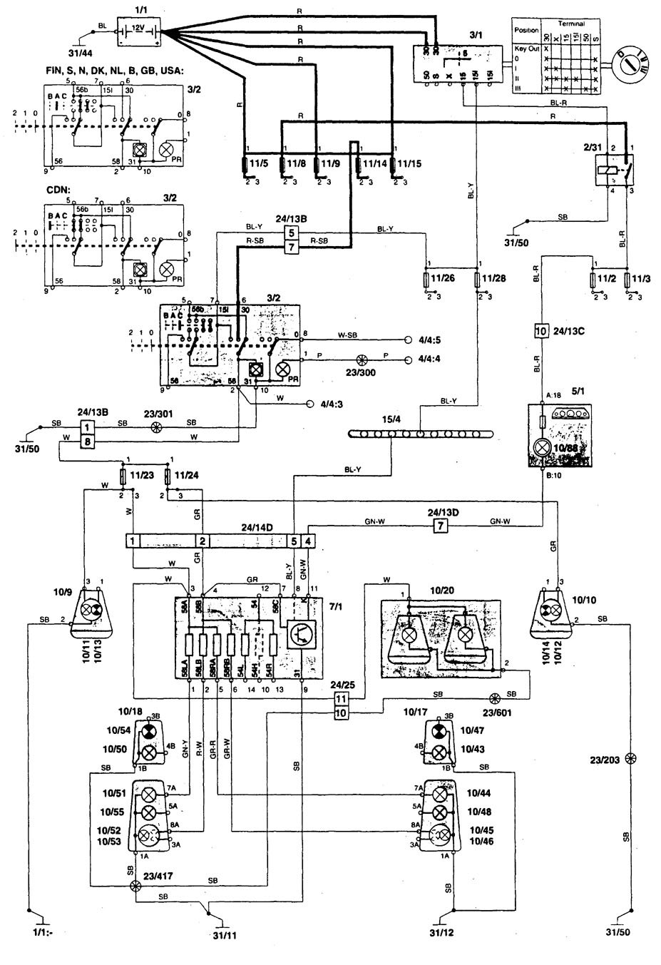 Volvo 850  1996  - Wiring Diagrams - Tail Lamp