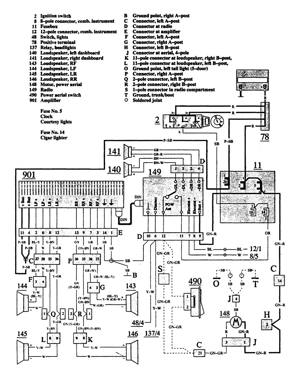Volvo 940 (1991) – wiring diagrams – audio – CARKNOWLEDGE