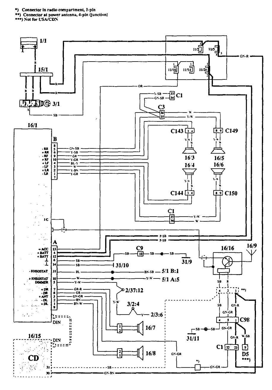 Volvo 940  1994  - Wiring Diagrams - Audio